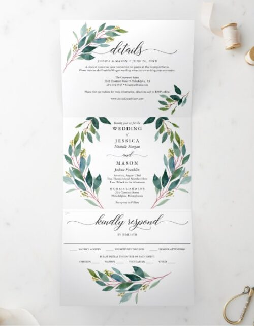 Garden Greens Wedding Tri-Fold Invitations