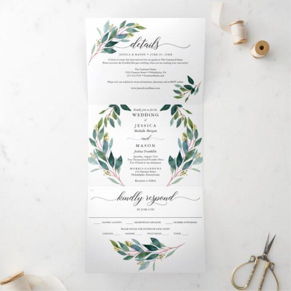 Garden Greens Wedding Tri-Fold Invitations