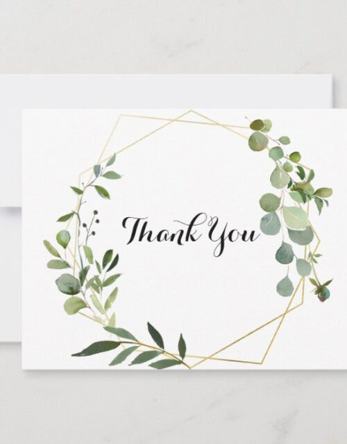 Geometric Gold Tropical Green Leaves Flat Wedding Thank You Card