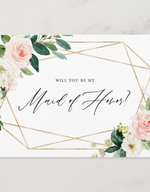Geometric Spring Blooms Be My Maid of Honor Card
