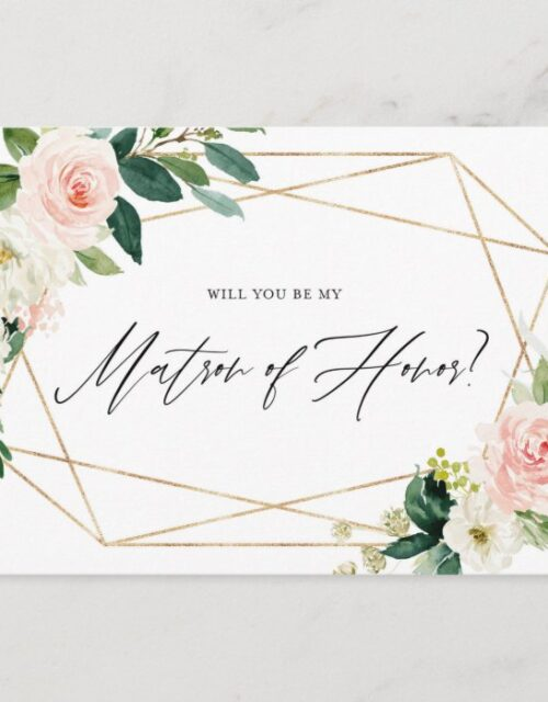 Geometric Spring Blooms Be My Matron of Honor Card