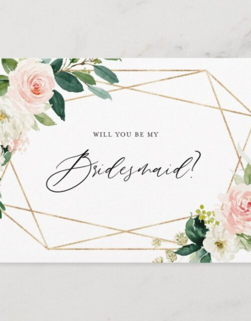 Geometric Spring Blooms Will You Be My Bridesmaid Invitation Postcard