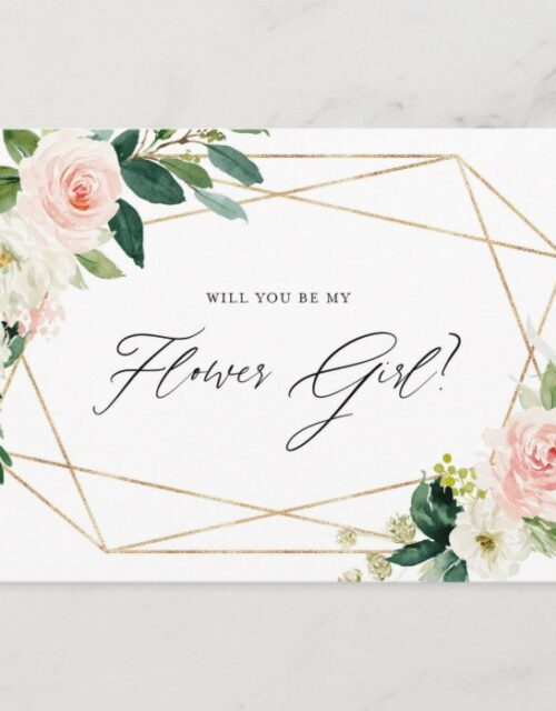 Geometric Spring Blooms Will You Be My Flower Girl Invitation Postcard