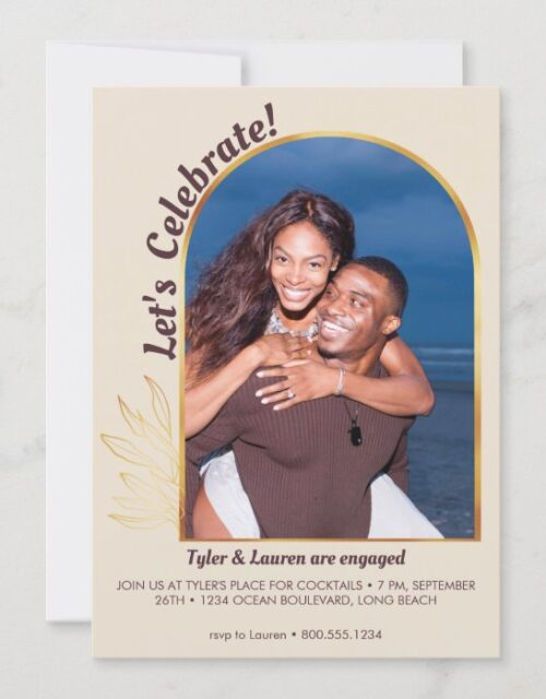 Gold Arch Lets Celebrate Photo Engagement Party Invitation