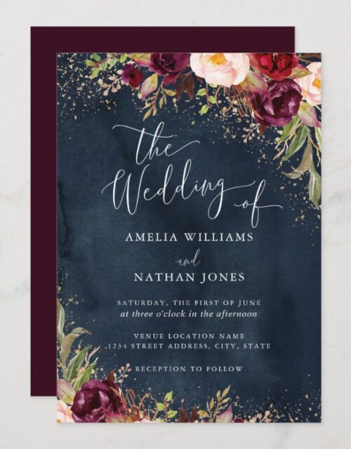 Gold Dust Burgundy Navy Floral Watercolor Wedding Invitation