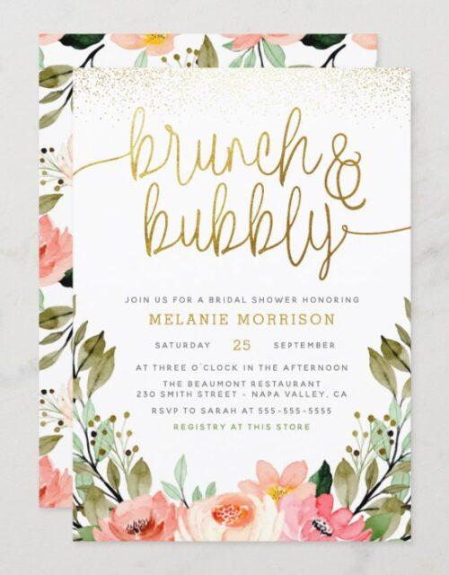 Gold Floral Brunch & Bubbly Bridal Shower Invitation