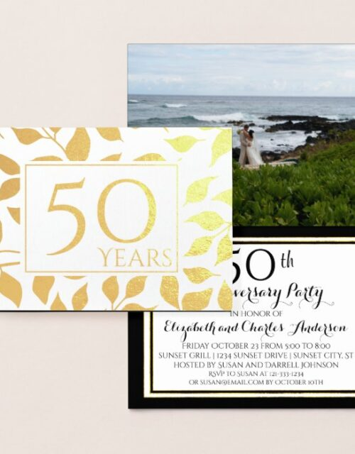 Gold Foil 50th Wedding Anniversary Invitations