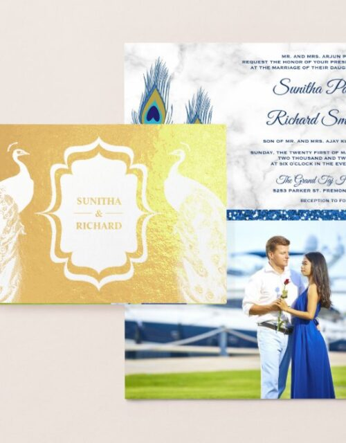 Gold Foil Blue Peacock Feathers Wedding Invitation
