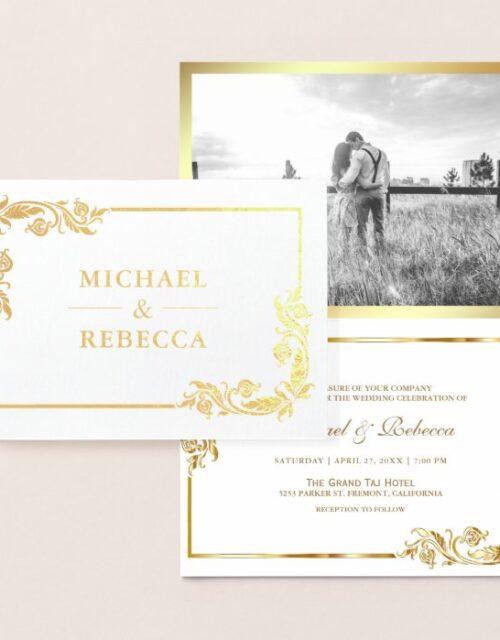Gold Foil Floral Photo White Wedding Invitation