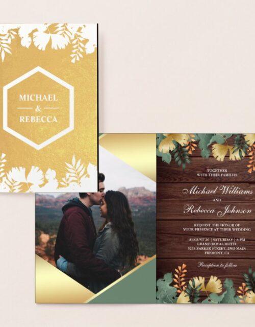 Gold Foil Geometric Tropical Photo Wedding Invite