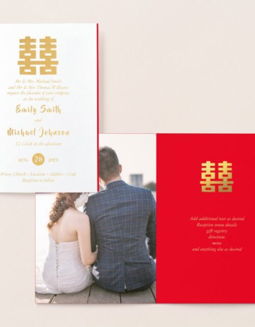 Gold FOIL PHOTO Chinese Happiness Wedding Red Foil Card