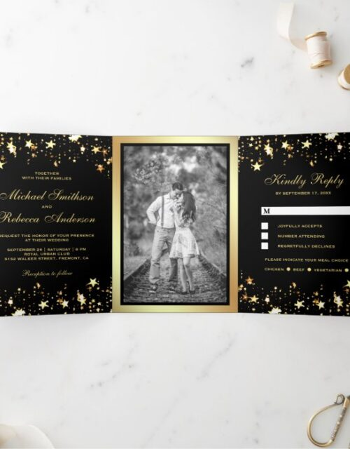 Gold Foil Stars Confetti Black Wedding Tri-Fold Invitation