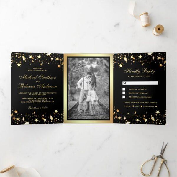 Gold Foil Stars Confetti Black Wedding Tri-Fold Invitation