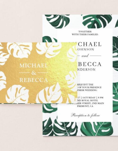 Gold Foil Tropical Monstera Wedding Invitation