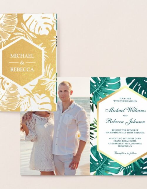 Gold Foil White Teal Monstera Wedding Invitation