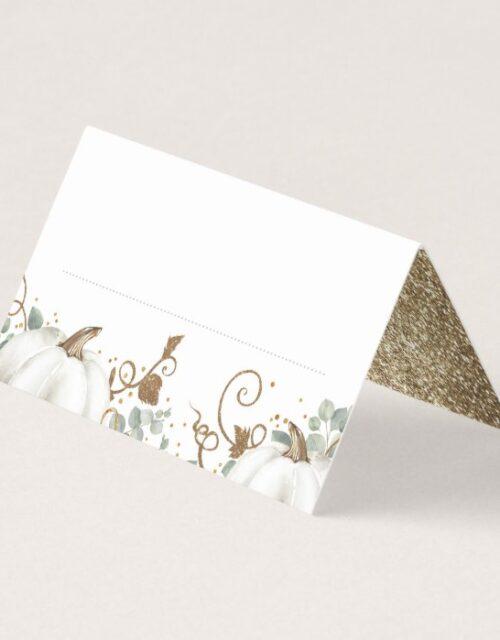 Gold Glitter Pumpkins Fall Wedding Place Card