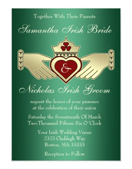 Green Gold Maroon Red Heart Hands Claddagh Wedding Magnetic Invitation