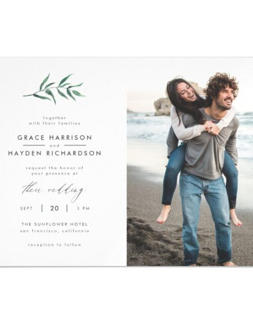 Green Painted Botanical Minimalist Wedding Photo Magnetic Invitation