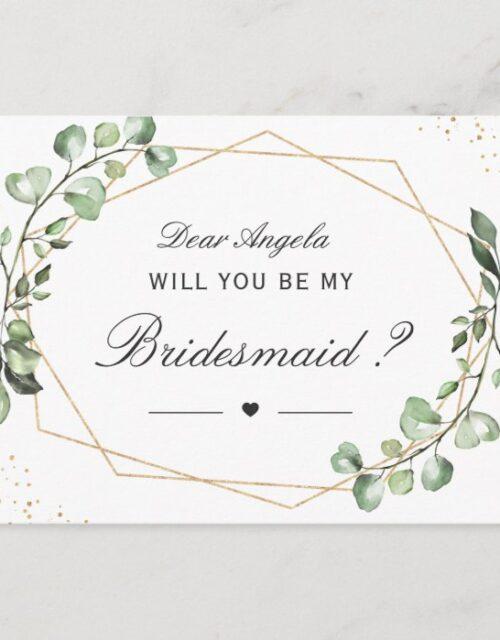 Greenery Eucalyptus Will You Be My Bridesmaid Invitation Postcard