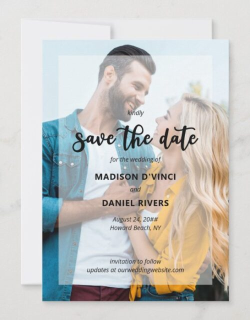 Hand Lettered 2 Photo Semi Opaque Overlay Save The Date