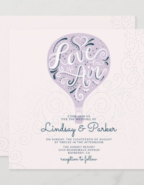 Hand Lettered Love Lavender Purple Wedding Square Invitation