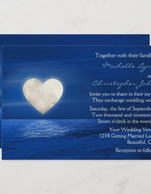 Heart Moon and Snowy Beach Winter Wedding Invitation