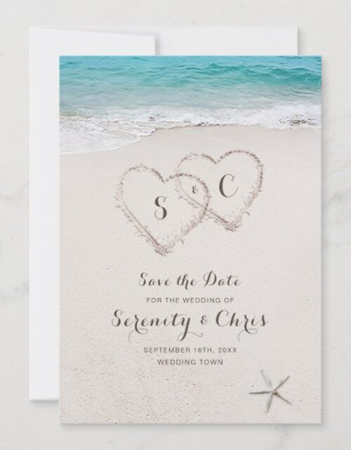 Hearts in the sand beach save the date