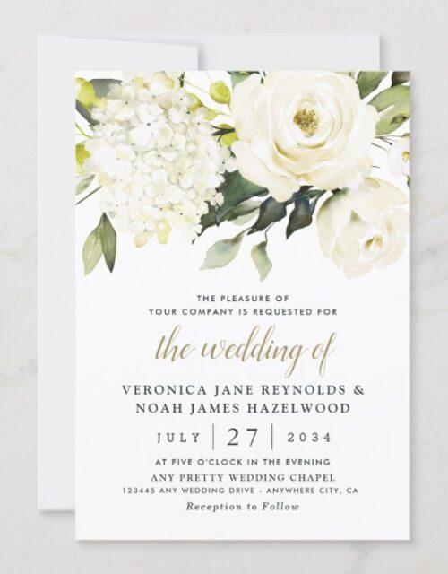 Hydrangea Elegant White Gold Rose Floral Wedding Invitation