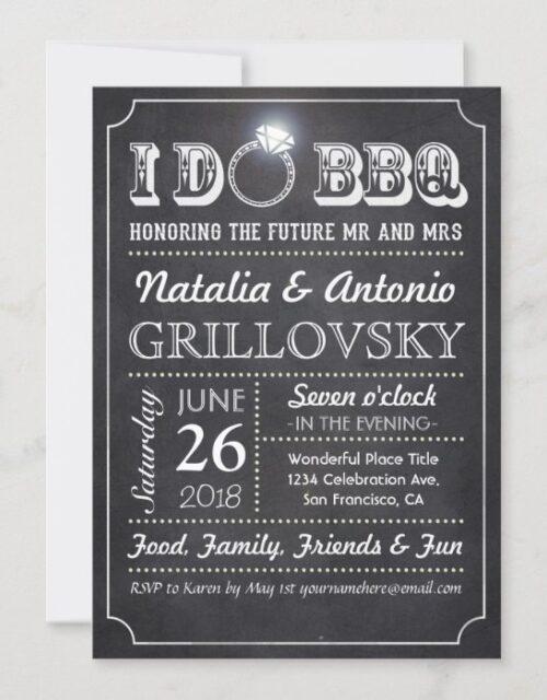 I DO BBQ Invitations | Chalkboard & Diamond Ring