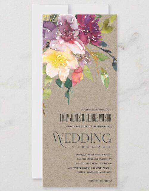 KRAFT YELLOW BLUSH BURGUNDY FLORAL BUNCH WEDDING INVITATION