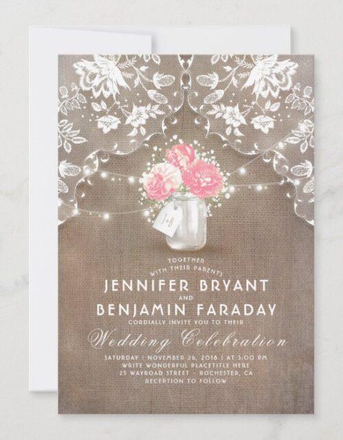 Lace Burlap Pink Peonies Mason Jar Rustic Wedding Invitation