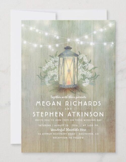 Lantern and Baby's Breath Rustic Summer Wedding Invitation