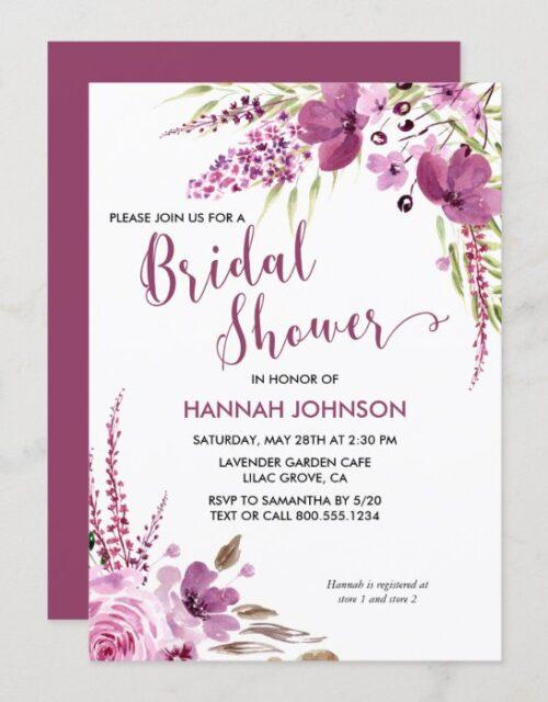 Lavender and Lilacs Floral Bridal Shower Invitation