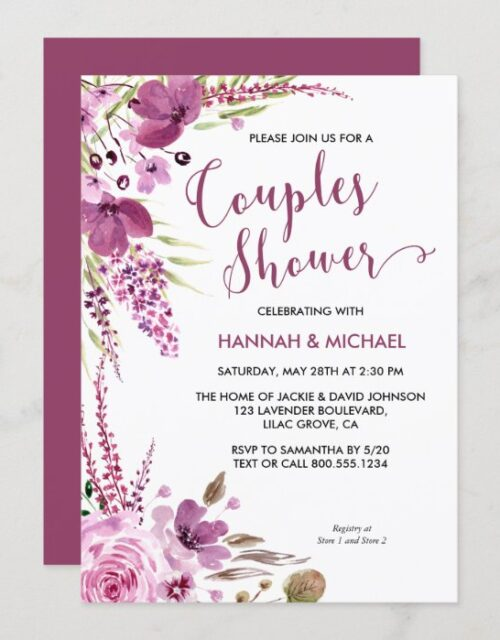 Lavender and Lilacs Floral Couples Shower Invitation