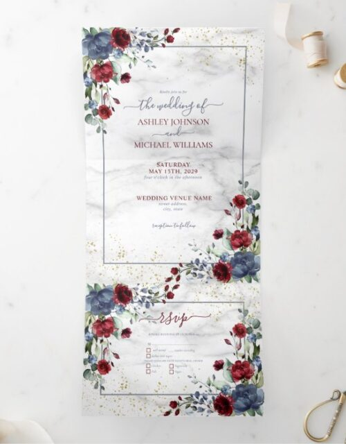 Light Dusty Blue Burgundy Floral Photo Wedding Tri-Fold Invitation