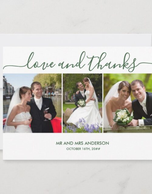Love and Thanks 3 Wedding Photo Hunter Green Thank You Card
