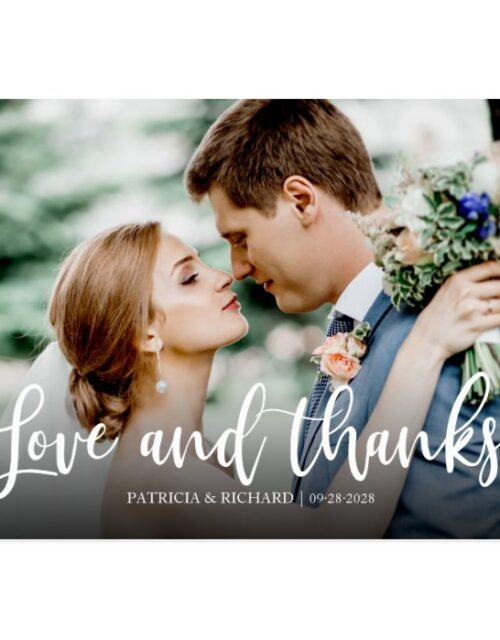 Love And Thanks Elegant Photo Wedding Thank You Postcard