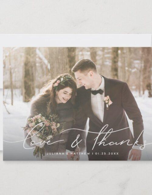 Love and Thanks Modern Script Wedding Photo Thank You Card