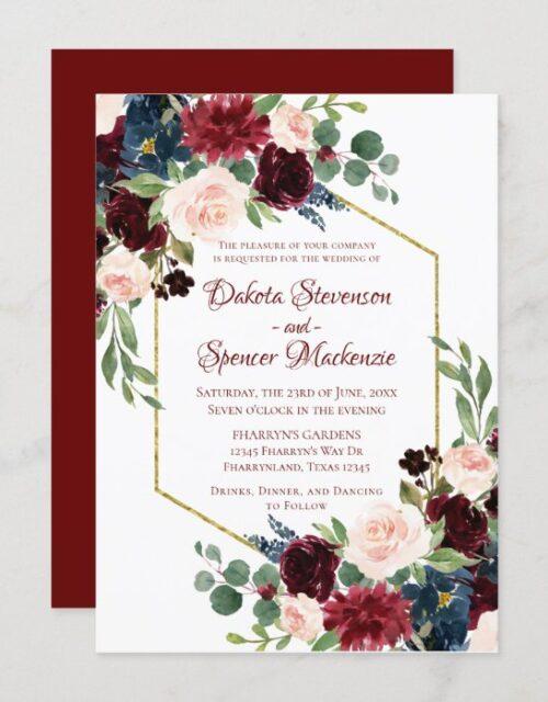 Love Bloom   Elegant Red Floral Gold Frame Wedding Invitation