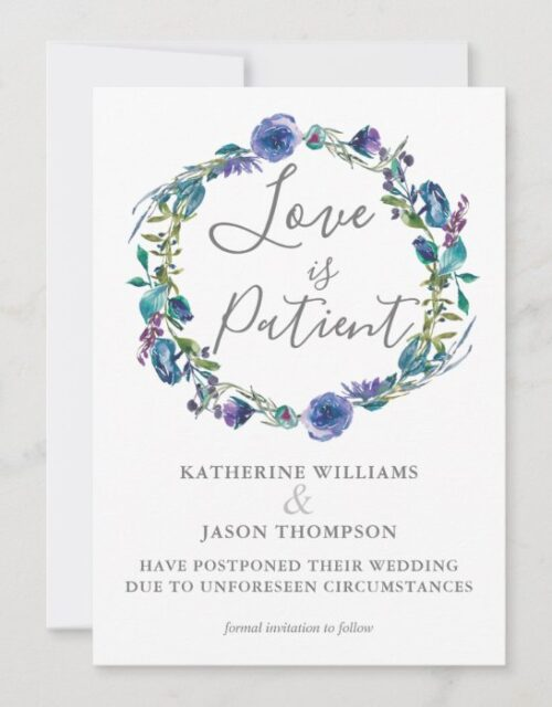 Love is Patient Wedding Date Change Violet Floral Save The Date