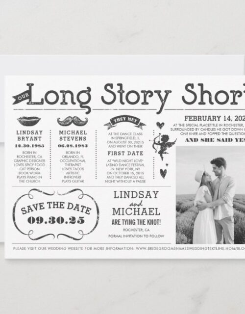 Love Story Timeline Fun Save the Date Photo Invitation