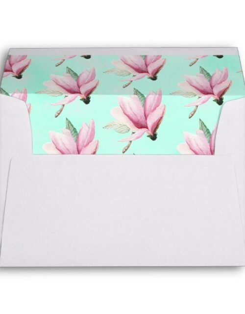 Magnolia Pink Flower on Neo Mint Return Address Envelope