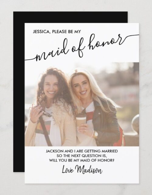 Maid of Honor Black and White Photo Proposal Card