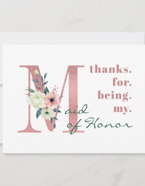 Maid of Honor Pink Floral Letter Wedding Thank You Card