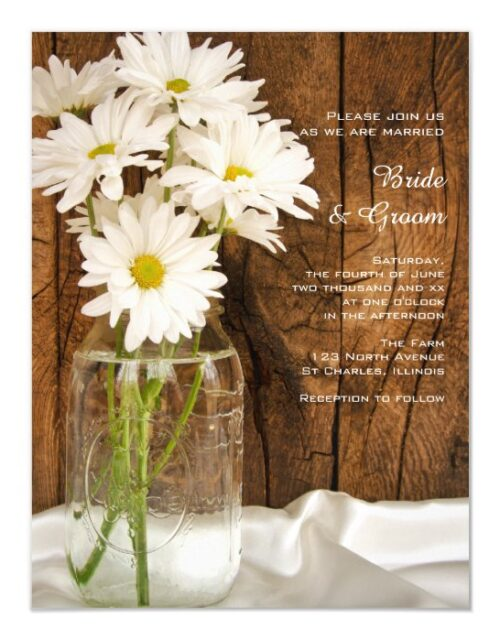 Mason Jar and White Daisies Barn Wedding Magnetic Invitation