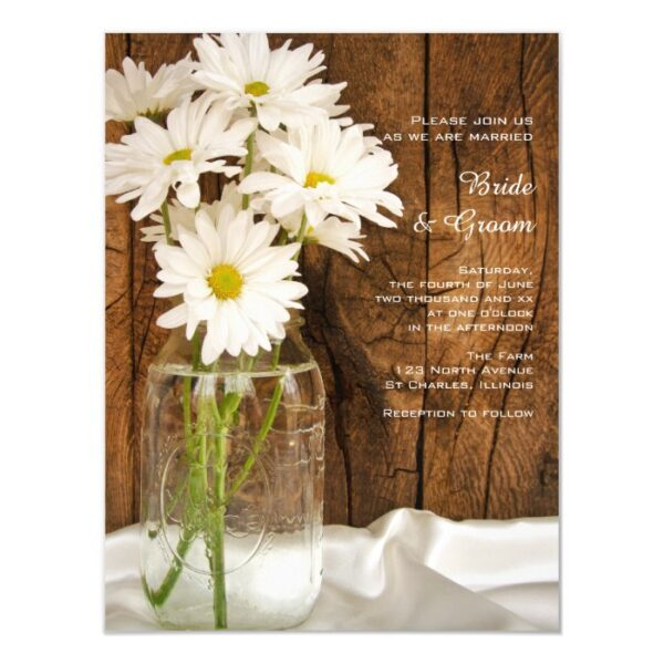Mason Jar and White Daisies Barn Wedding Magnetic Invitation