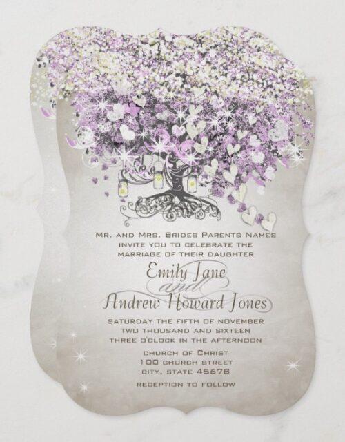 Mason Jar Purple Lavender Heart Leaf Tree Wedding Invitation