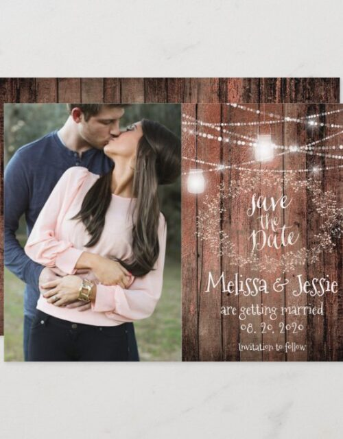 Mason Jars Lights Baby Breath Rustic Save The Date Invitation