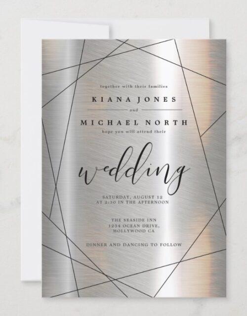 Metallic Geometric Wedding Silver/Black ID648 Invitation