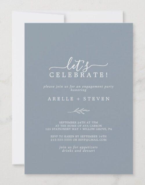 Minimal Leaf | Dusty Blue Let's Celebrate Invitation